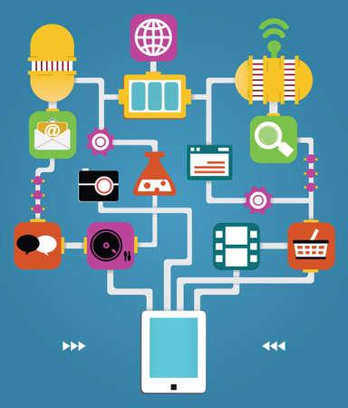 Infografía de Tablet PC con las aplicaciones