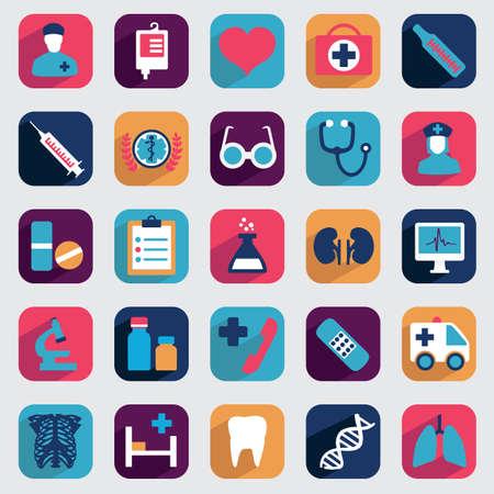 primeros auxilios: Conjunto de iconos médicos planos de diseño Vectores