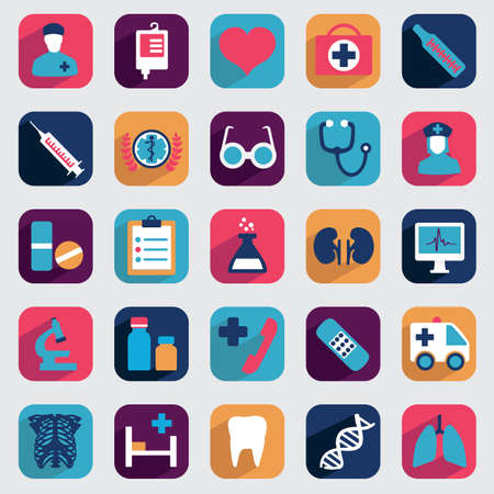 heart medical: Set of flat medical icons for design