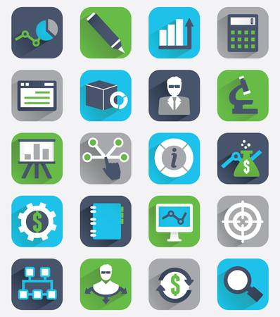 Set of flat analytics and statistics icons