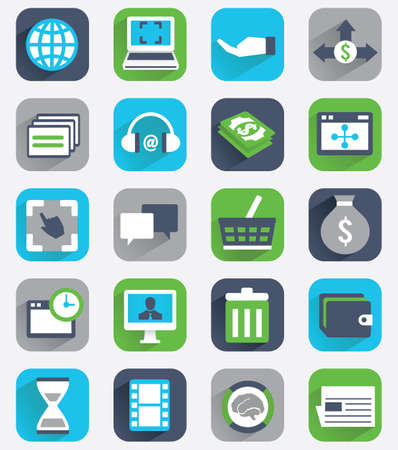 Set of flat analytics and statistics icons - part 2 - vector icons