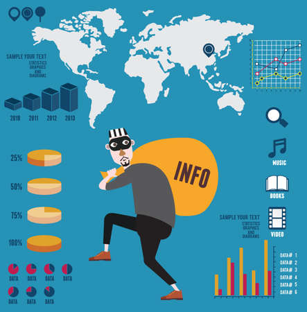 Infografía de la piratería info - ilustración vectorial