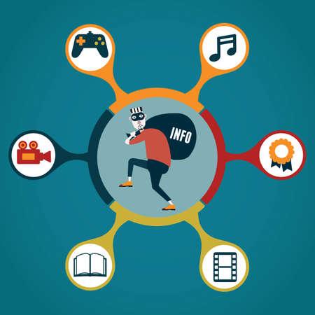 trasgressione: Concetto di violazione del copyright tipi di pirateria - illustrazione vettoriale