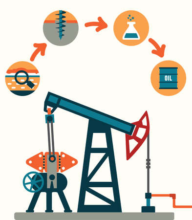 boring: Process of oil production - vector illustration