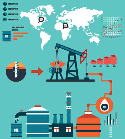 Process of oil production and petrolium refining - vector  Infographic design elements