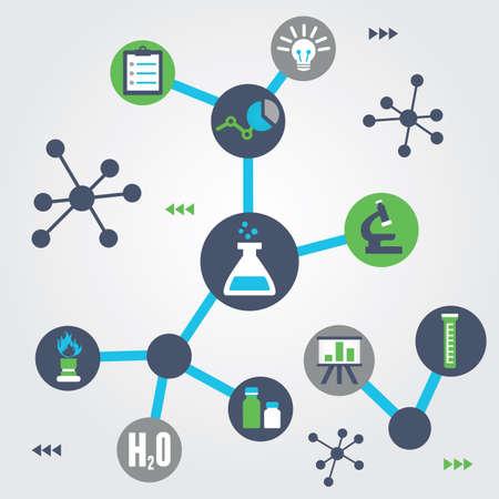 qu�mica: Concepto de la qu�mica - ilustraci�n vectorial Vectores