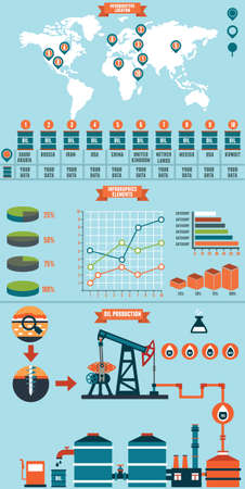 Process of Oil Production and Petroleum Refining - vector infographic Stock Vector - 23103431
