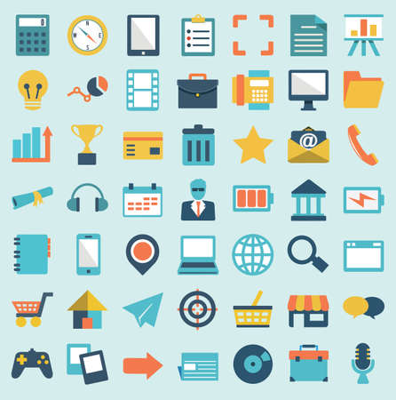 Set of flat social media icons - part 1 - vector icons Vector