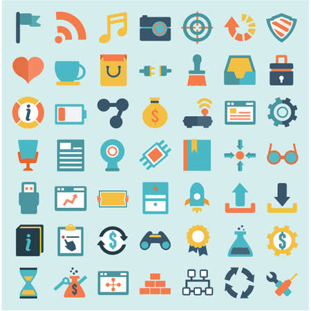 Set of flat social media icons - part 2 - vector icons Illustration