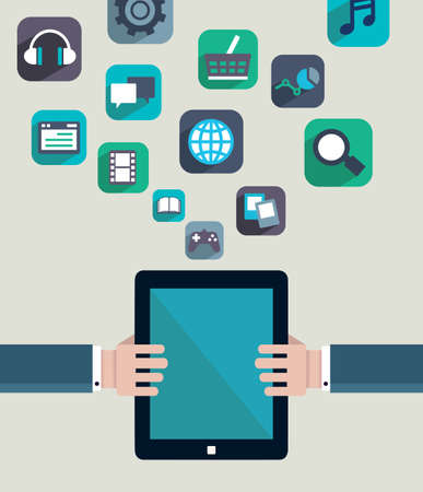 Social media concept  Resources of tablet pc - vector illustration Vector