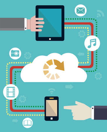 dropbox: Connection of mobile devices  Transmit and download - vector illustration Illustration
