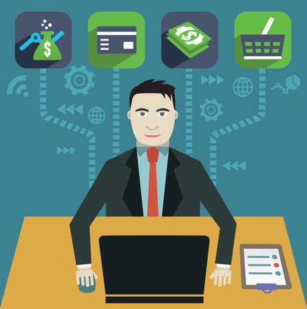 e user: Flat concept of internet marketing - vector illustration Illustration