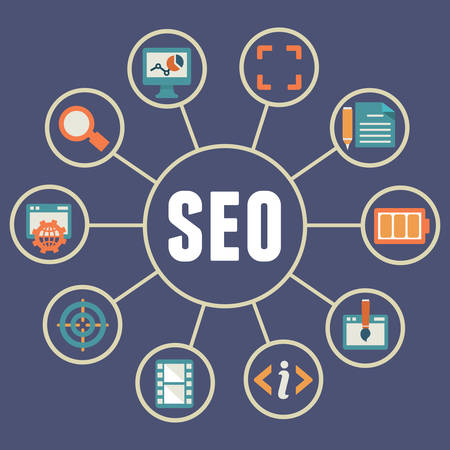 seo: Flat concept of seo process - vector illustration