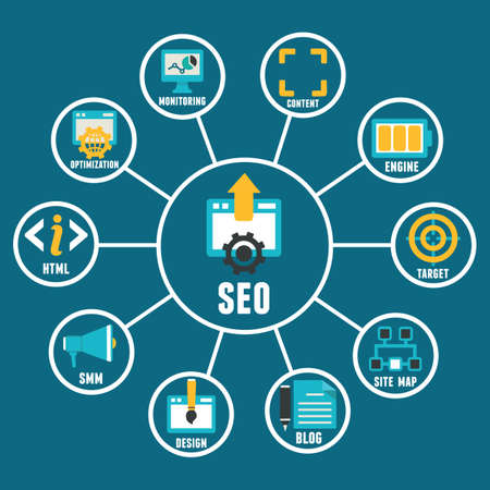 optimize: Flat concept of seo process - vector illustration