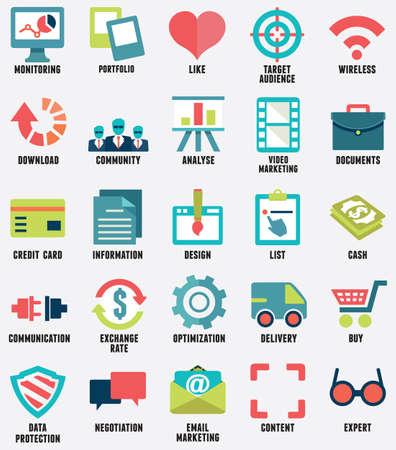 planos: Conjunto de servicios de medios iconos planos - parte 1 - iconos vectoriales