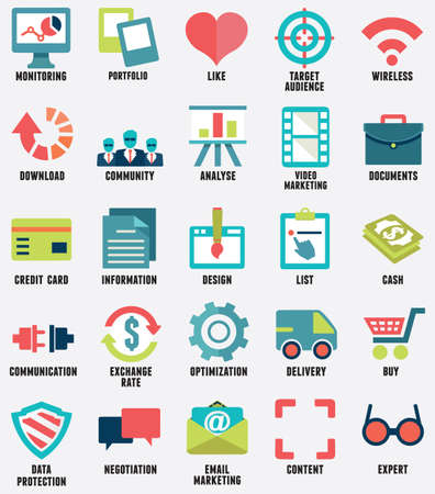 optimize: Set of media service flat icons - part 1 - vector icons