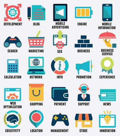 web technology: Set di servizi di media icone piane - parte 2 - vector icons Vettoriali
