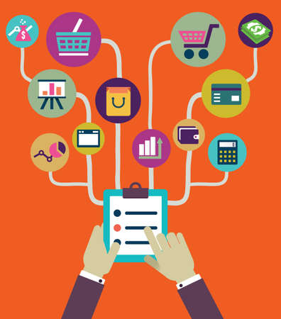 mobile shopping: Management of business and payment  Flat style - vector illustration