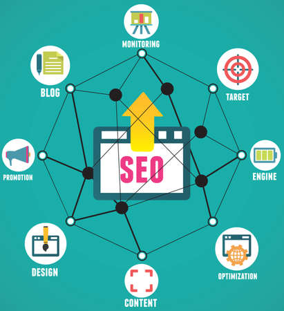 Abstract concept of seo process on geometrical background with lines - vector illustration
