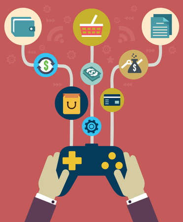 joystick: Management of business and payment  Flat style - vector illustration