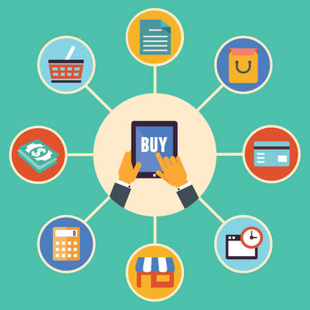 ecommerce: Flat design vector concept of e-commerce symbols, online shopping and buying - vector illustration