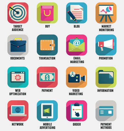 Set of business internet service and ecommerce icons  Flat style - part 1 - vector icons