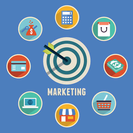 e banking: Concept of marketing Target marketing with icons - vector icons