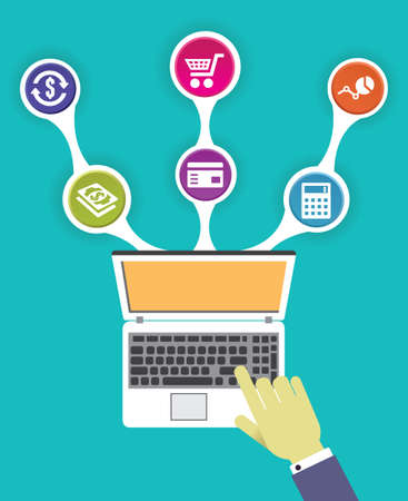 Concept of internet marketing - vector illustration Illustration