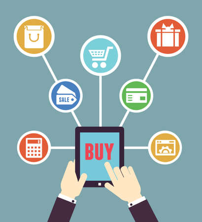 merchant: Internet shopping  Mobile order and payment  Flat style - vector illustration