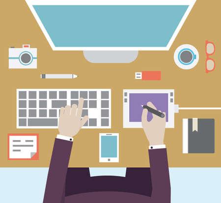 escritorio: Lugar de trabajo del diseñador con los dispositivos para el trabajo de estilo Flat - ilustración vectorial Vectores