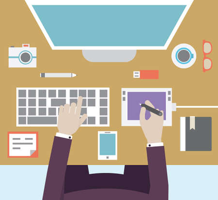 graphic designer: Workplace of designer with devices for work  Flat style - vector illustration Illustration