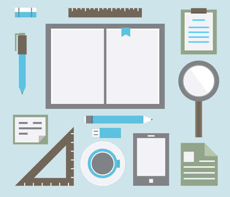jobsite: Workplace with tools - vector illustration Illustration