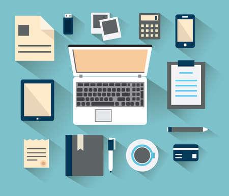 pupitre: Lugar de trabajo con dispositivos móviles y documentos de tipo plano con largas sombras - ilustración vectorial Vectores