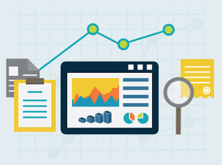 Programming process and web analytics elements  Flat style design  Flat style  - vector illustration