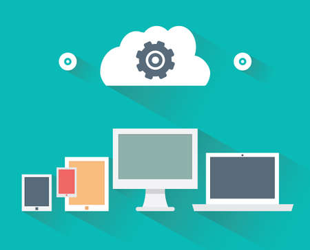 file transfer: Flat design concept of computer and mobile devices with long shadows - vector illustration