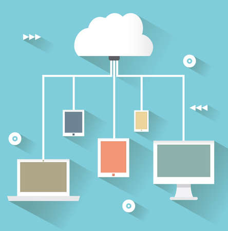 Concept de design plat de service en nuage et les appareils mobiles avec de longues ombres processus de uploud et téléchargement - illustration vectorielle