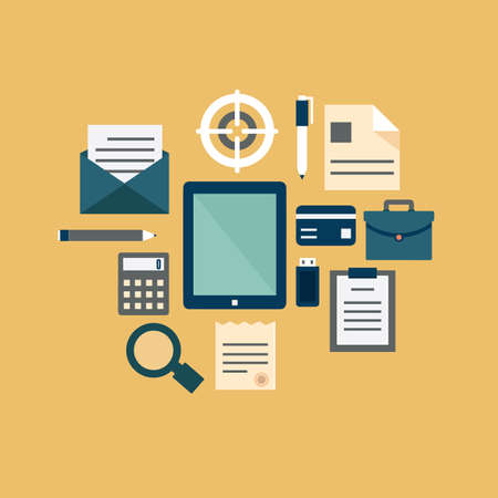 email lists: Flat concept of documents for business - vector illustration