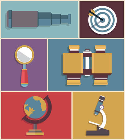 Vector set of equipments for search  Flat style design - vector illustration Vector