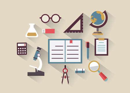 Concepto de Piso de educación y el conocimiento Símbolos de la educación con una larga sombra - ilustración vectorial