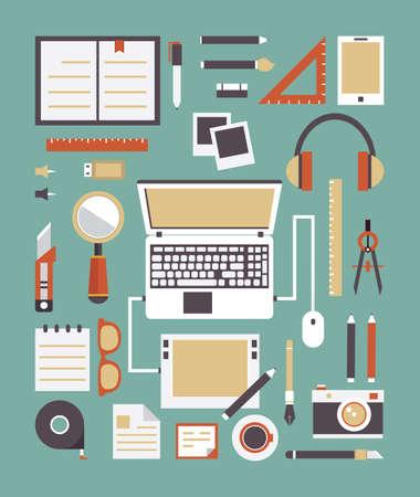 pupitre: Vector conjunto de equipos para los gadgets de diseño de diseño para la creatividad Estilo plano de diseño - ilustración vectorial