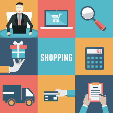 online purchase: Vector concept of internet shopping  Order and delivery  Flat style design - vector illustration Illustration