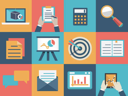market research: Vector concept of analysis and market research  Flat style design - vector illustration