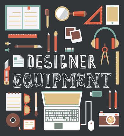 office desk: Vector set of equipment for design  Designer gadgets for creativity  Flat style design - vector illustration
