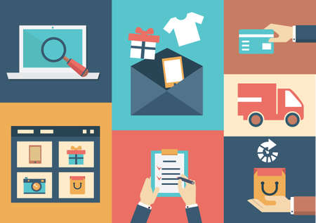 Vector concept of process email marketing Flat style design - vector illustration