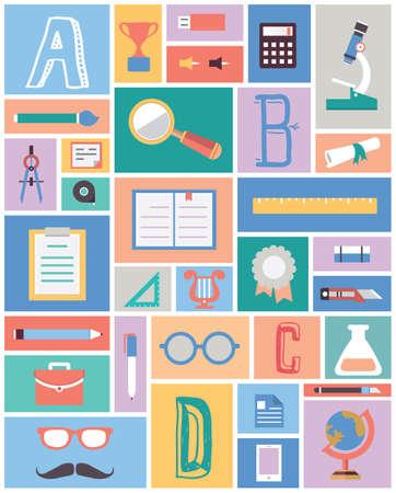 cognition: Set of education equipment  Flat style design - vector illustration
