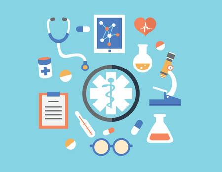vida social: Concepto abstracto plano de la medicina con el emblema Vectores