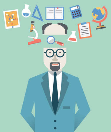 analytic: illustration of scientist with science symbols  Flat style design