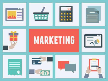 marktforschung: Konzept der Analyse und Marktforschung Internet-Shopping-Abbildung Illustration