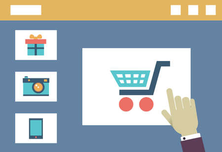 shopping order: Vector internet shopping  Order and delivery  Flat style design - vector illustration