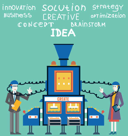 Brainstorm of businessman and businesswoman  Create ideas and creative solutions Vector